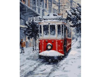 Купить Картина по номерам ArtStory Зимний трамвай AS0042 40 х 50 см