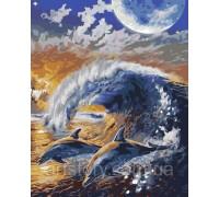 Картина по номерам ArtStory Дельфины на волне AS0173 40 х 50 см
