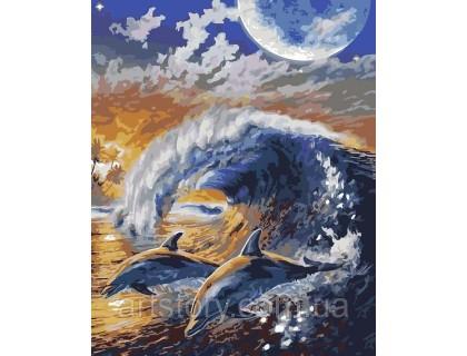 Купить Картина по номерам ArtStory Дельфины на волне AS0173 40 х 50 см