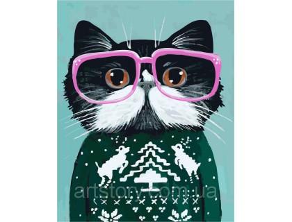 Купить Картина по номерам ArtStory Праздничный котик AS0267 40 х 50 см