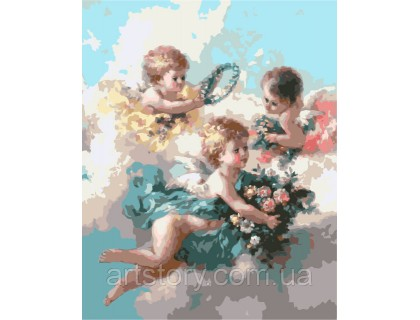 Купить Картина по номерам ArtStory Нежные ангелочки AS0294 40 х 50 см