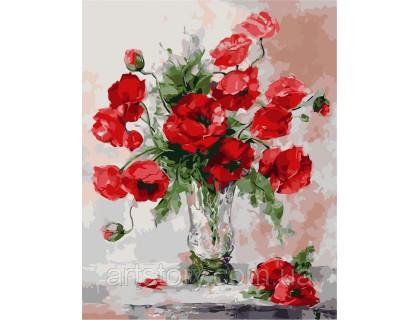 Купить Картина по номерам ArtStory Красные маки  AS0247 40 х 50 см