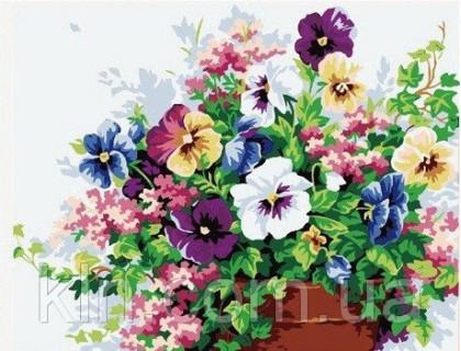 Купить Картина по номерам Идейка KH143 Анютины глазки 40 х 50 см