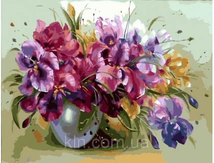 Купить Картина по номерам Идейка (КН1118) Ароматные ирисы в вазе 40 х 50 см
