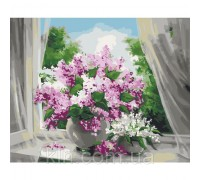 Картина по номерам Идейка Нежная сирень на окне КН2073 40 х 50 см
