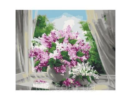 Купить Картина по номерам Идейка Нежная сирень на окне КН2073 40 х 50 см