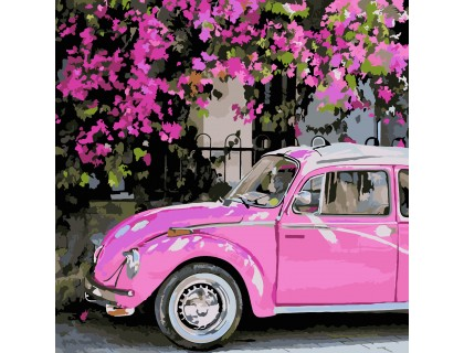 Купить Картина по номерам без коробки ArtStory Розовый автомобиль 40 х 40 см (арт. AS0224)