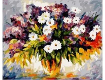 Купить Картина по номерам Babylon Букет полевых цветов и ветка сирени VP064 40 х 50 см