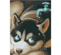 Картина по номерам без коробки Идейка Любопытный щенок 40 х 30 см (арт. KHO2444)