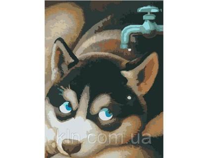 Купить Картина по номерам без коробки Идейка Любопытный щенок 40 х 30 см (арт. KHO2444)