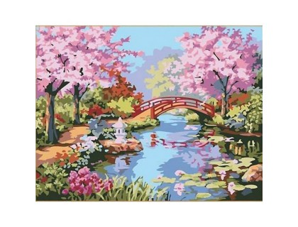 Купить Картина по номерам Идейка (КН190) Цветущая сакура в саду 40 х 50 см