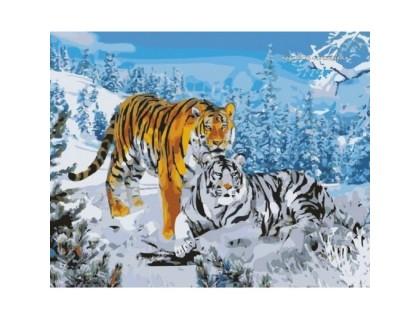 Купить Картина по номерам Идейка КН194 Тигры в лесу 40 х 50 см