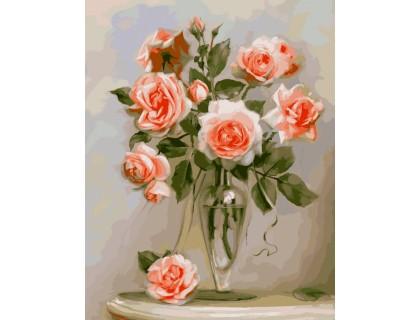 Купить Картина по номерам Идейка Кораловые розы KH2034 40 х 50 см