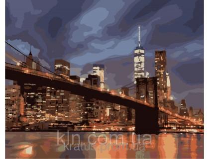 Купить Картина по номерам КН2133 Огни ночного Нью-Йорка 40 х 50 см