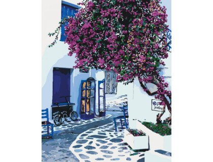 Купить Картина по номерам КН2168 Улички Греции 40 х 50 см