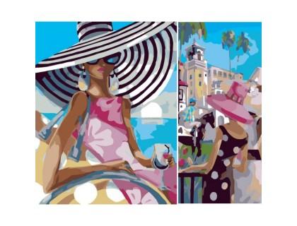Купить Картина по номерам Идейка Диптих Девушка загадка (2 картины, 40х20, 40х30см) (KH2619)