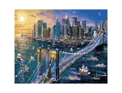 Купить Картина по номерам без коробки Идейка Ночной Нью-Йорк 40 х 50 см (арт. KHO2170)