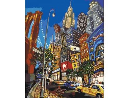 Купить Картина по номерам без коробки Идейка Ночная жизнь Нью-Йорка 40 х 50 см (арт. KHO2172)