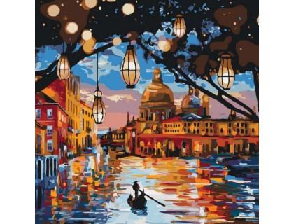 Купить Картина по номерам без коробки Идейка Огни Венеции 40 х 40 см (арт. KHO2183)