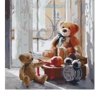 Картина по номерам без коробки Идейка Мишки на окне 40 х 40 см (арт. KHO2310)