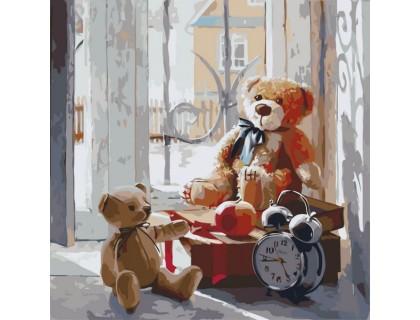 Купить Картина по номерам без коробки Идейка Мишки на окне 40 х 40 см (арт. KHO2310)