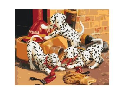 Купить Картина по номерам без коробки Идейка Шаловливые далматинцы 40 х 50 см (арт. КНО4053)