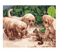 Картина по номерам без коробки Идейка Щенята и бурундук 40 х 50 см (арт. KHO4055)