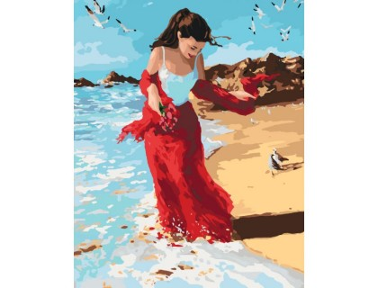 Купить Картина по номерам без коробки Идейка Девушка на набережной 40 х 50 см (арт. KHO4504)