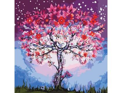 Купить Картина по номерам без коробки Идейка Цветочное дерево 40 х 40 см (арт. KHO5012)
