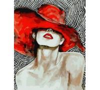 Картина по номерам ArtStory Дама с красной помадой AS0082 40 х 50 см