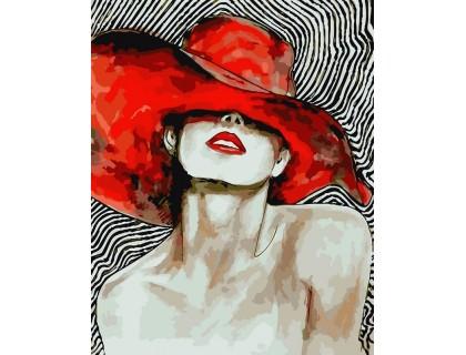 Купить Картина по номерам ArtStory Дама с красной помадой AS0082 40 х 50 см