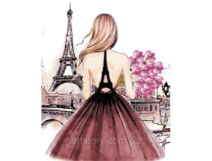 Купить Картина по номерам ArtStory Девушка в Париже AS0442 40 х 50 см