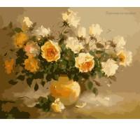 Картина по номерам Идейка КН278 Нежно-желтые розы 40 х 50 см