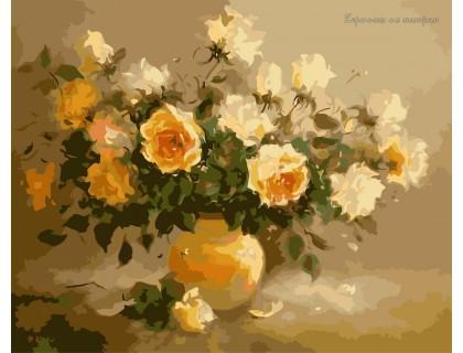 Купить Картина по номерам Идейка КН278 Нежно-желтые розы 40 х 50 см