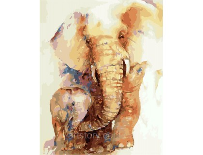 Купить Картина по номерам ArtStory Слонёнок с мамой AS0275 40 х 50 см