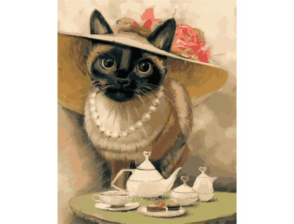 Купить Картина по номерам ArtStory Кошечка в шляпке AS0391 40 х 50 см