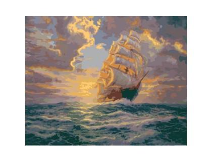 Купить Картина по номерам Рассвет под парусами КН2715 40 х 50 см