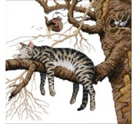Вышивка крестом набор Кот на дереве 36х36 см (арт. MK001)