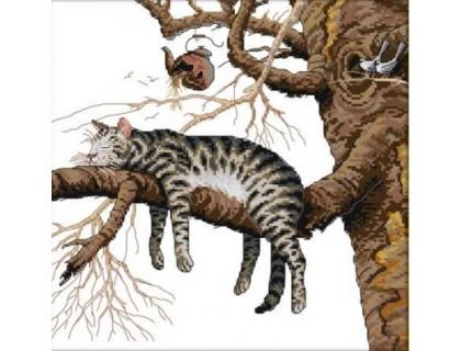 Купить Вышивка крестом набор Кот на дереве 38х38 см (арт. MK001)