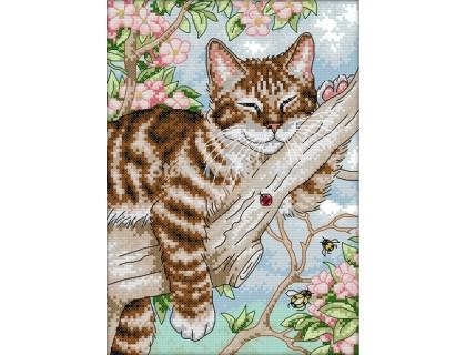 Купить Вышивка крестом набор Кот на дереве 23х33 см (арт. MK002)