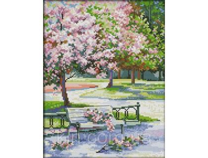 Купить Вышивка крестиком Сакура в парке 27х33 см (арт. MK008)
