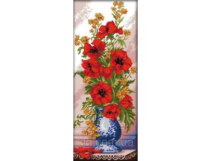 Купить Вышивка крестиком Маки в вазе 30х64 см (арт. MK009)