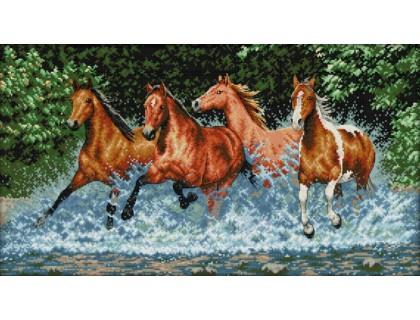 Купить Вышивка крестиком Дикие лошади 60х36 см (арт. MK022)