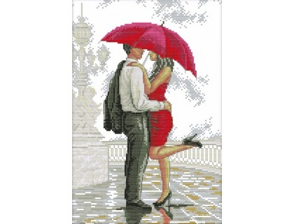 Купить Вышивка крестиком Свидание под красным зонтом 27х37 см (арт. MK024)