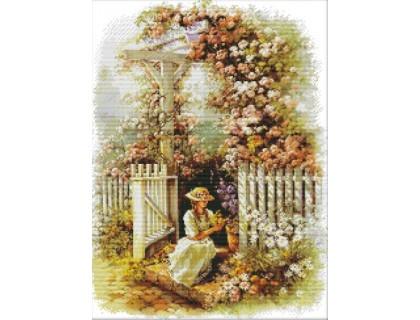 Купить Вышивка крестиком Девушка в саду 42х53 см (арт. MK028)