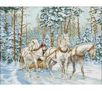 Вышивка крестиком Тройка белых лошадей 65х52 см (арт. MK029)