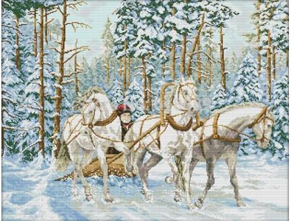 Купить Вышивка крестиком Тройка белых лошадей 65х52 см (арт. MK029)