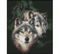 Вышивка крестиком Пара диких волков 44х51 см (арт. MK032)