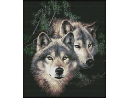 Купить Вышивка крестиком Пара диких волков 44х51 см (арт. MK032)