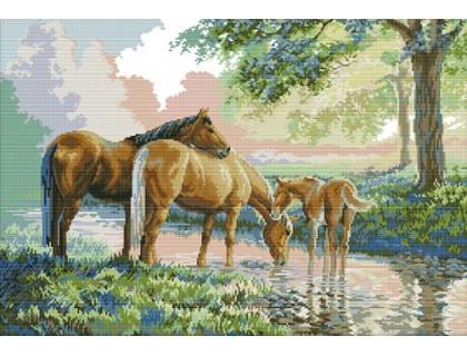 Купить Вышивка крестом на канве Лошади у пруда 63х46 см (арт. MK033)